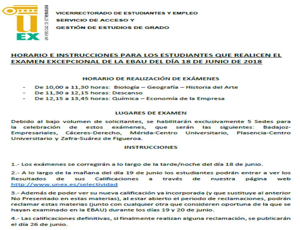 Instrucciones EBAU 18 JUNIO